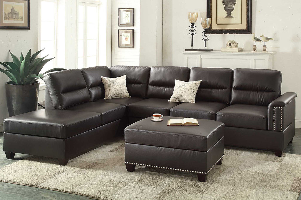 ESPRESSO BONDED LEATHER REVERSIBLE SECTIONAL SOFA SET PD7609