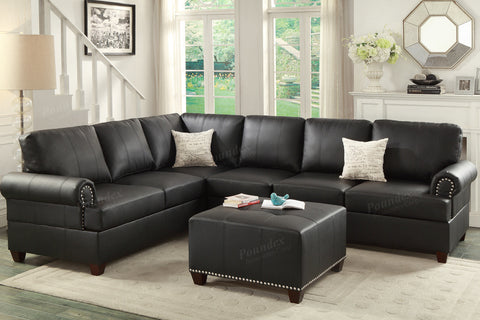 BLACK 2PCS SECTIONAL SOFA SET ADJUSTABLE HEAD REST PD7249