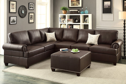 2PCS BLACK BONDED LEATHER REVERSIBLE SECTIONAL SOFA PD7769