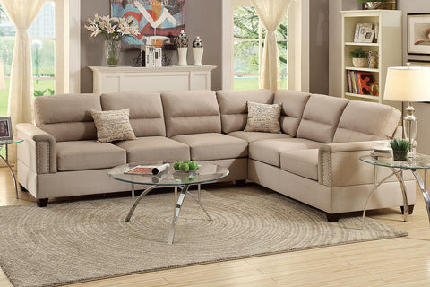 BONDED LEATHER REVERSIBLE CHAISE SECTIONAL SOFA PD7859