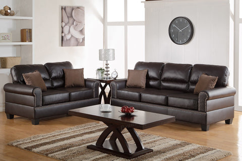 2PCS BONDED LEATHER SOFA & LOVESEAT PD7877