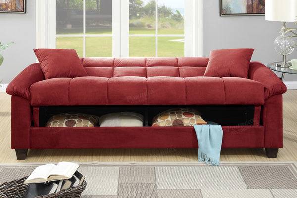 MICROFIBER STORAGE FUTON SOFA BED PD7888