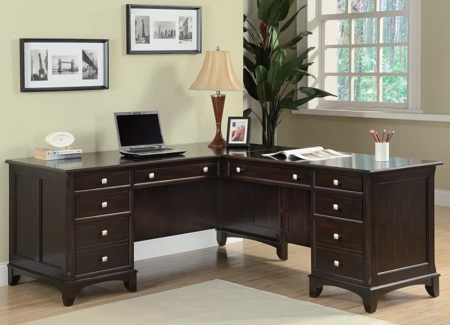 CT801011 GARSON L-SHAPED WALNUT OFFICE DESK WITH 8 DRAWERS
