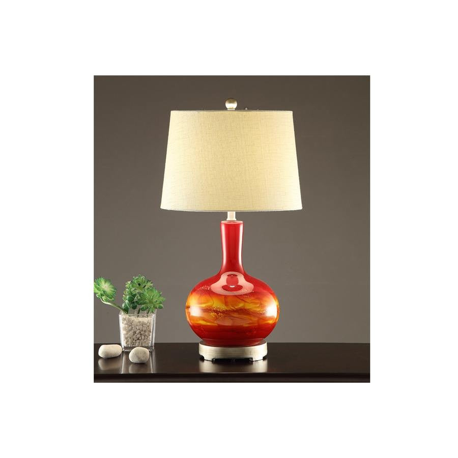 F5378 RED GLASS LAMP SET OF 2