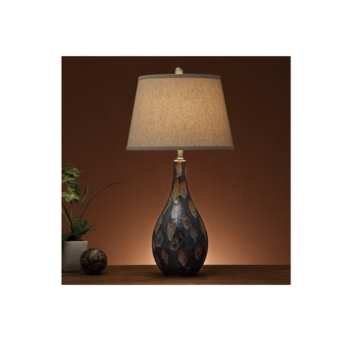 F5367 BROWN CERAMIC TABLE LAMP SET OF 2