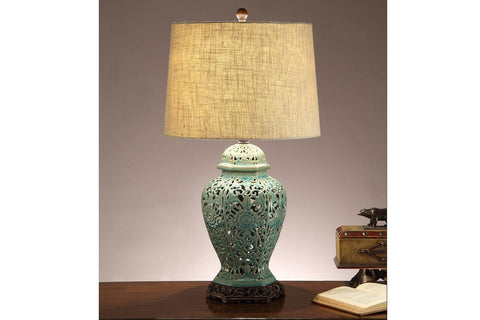 F5373 BLUE CERAMIC LAMP SET OF 2