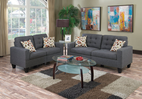 ACME 51550 CLEAVON REVERSIBLE GRAY LINEN SECTIONAL SOFA w/PILLOWS
