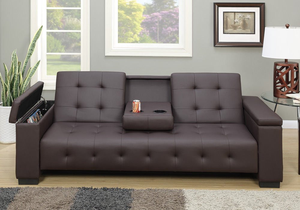 FAUX LEATHER ADJUSTABLE FUTON SOFA BED CENTER CONSOLE PD7202