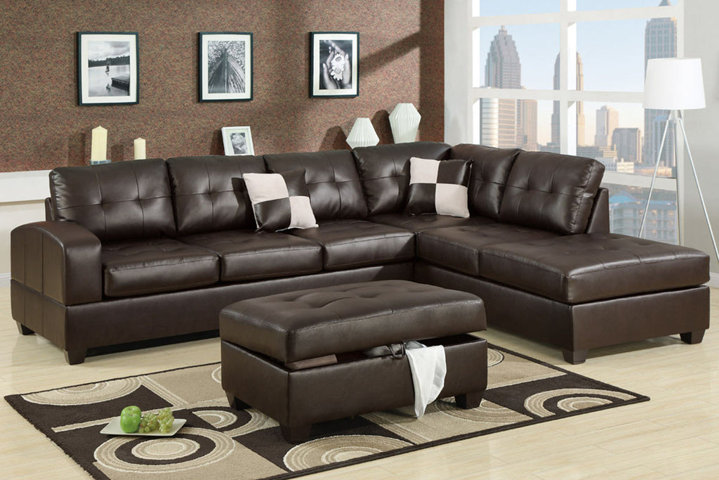 2-PCS BONDED LEATHER SECTIONAL PD7358