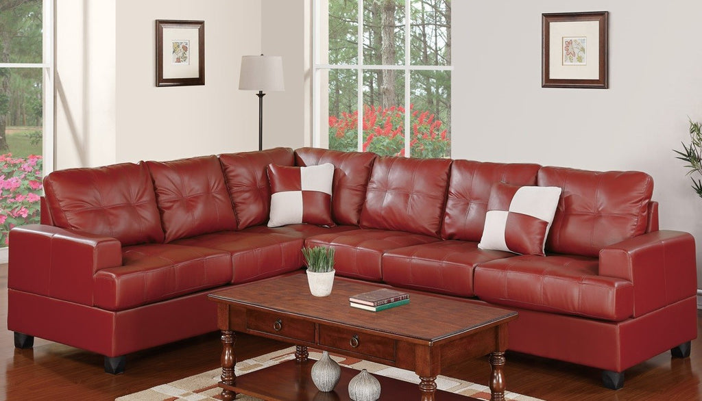 2-PCS BONDED LEATHER SECTIONAL PD7642