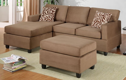 SADDLE MICROFIBER REVERSIBLE CHAISE SECTIONAL SOFA OTTOMAN PD7662