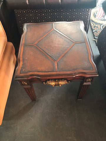 Genuine Leather Top Wooden Table