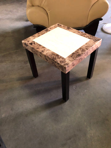 Faux Marble Top End Table