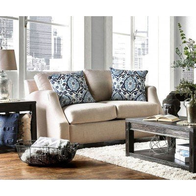 ASH BLACK FAUX LINEN LOVESEAT WITH PILLOWS PD7446