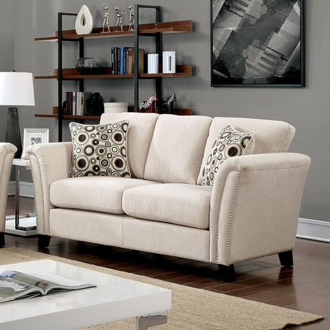 SLATE FAUX LINEN LOVESEAT PD7449