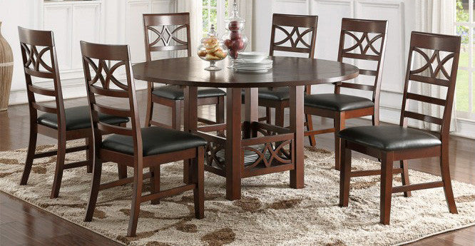 Wood Dining Tables With Leaves poundex f2358 7pcs dark rosy brown wood dining table with leaf