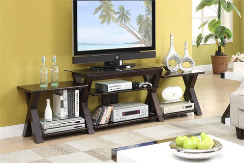 POUNDEX F4423 ESPRESSO WOOD TV STAND WITH SIDE SHELF