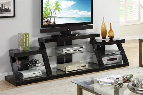 POUNDEX F4440 ESPRESSO TV STAND WITH SIDE SHELF