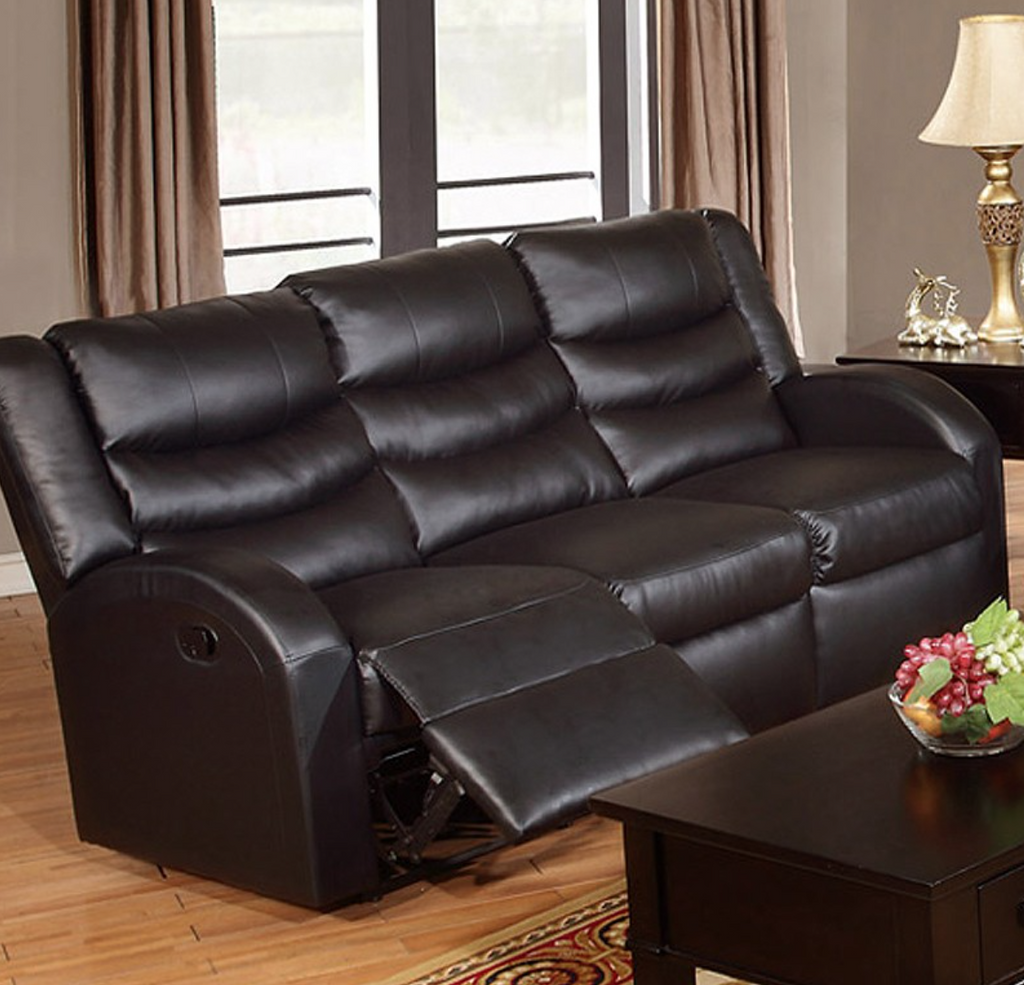 BLACK BONDED LEATHER MOTION SOFA PD6652
