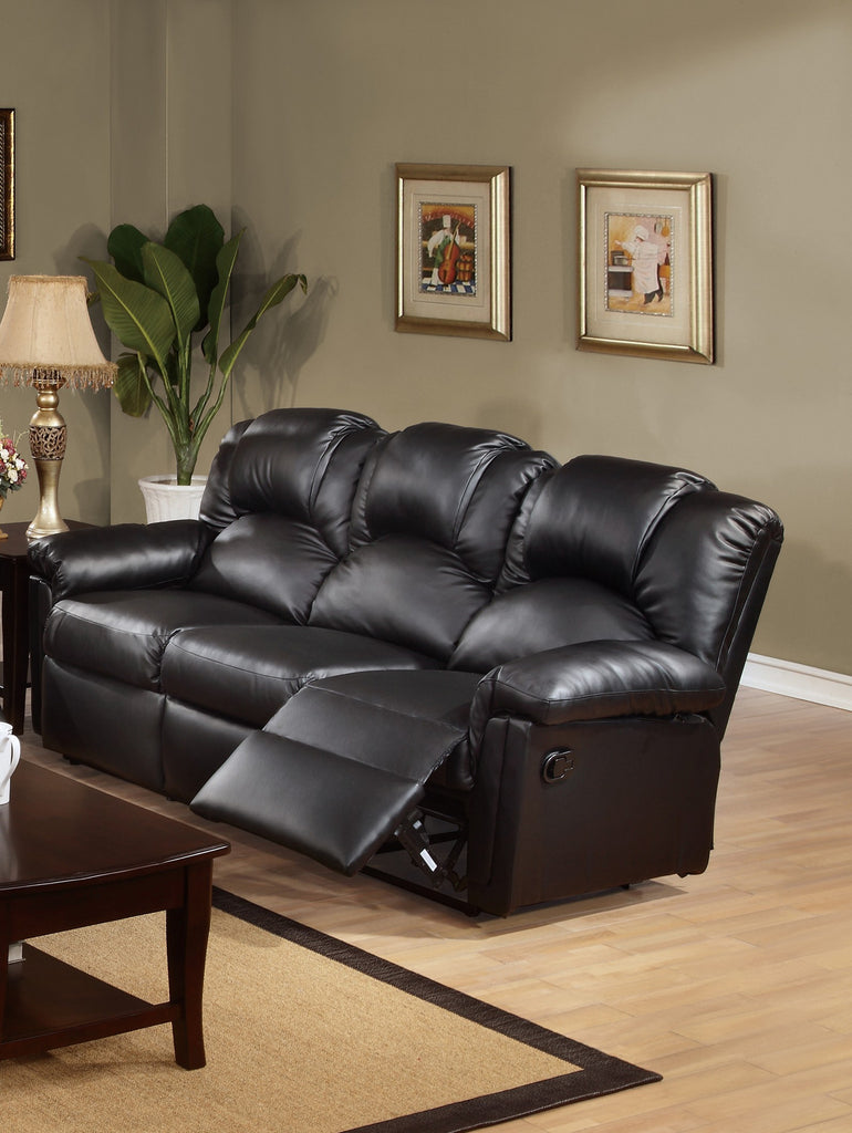 BLACK BONDED LEATHER MOTION SOFA PD6672