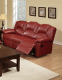 BURGUNDY BONDED LEATHER MOTION SOFA PD6678