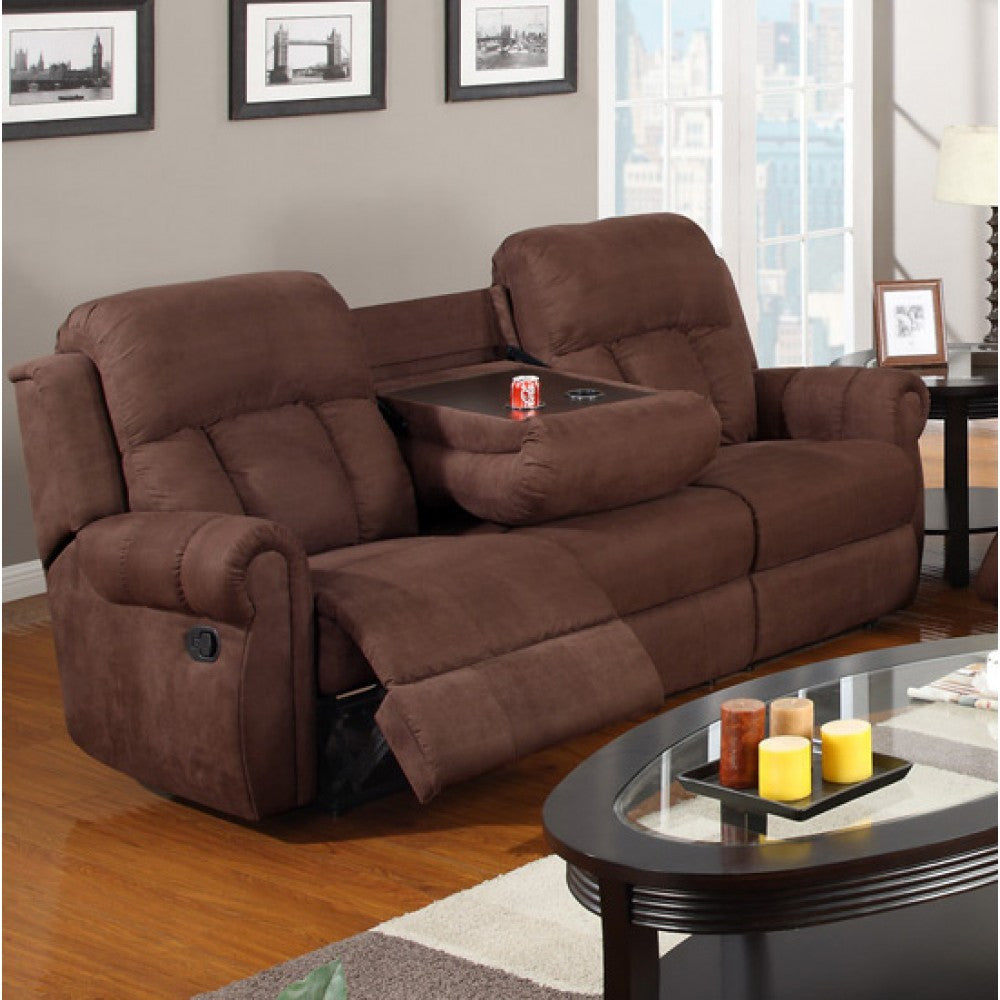 CHOCOLATE MICROFIBER MOTION SOFA PD7049