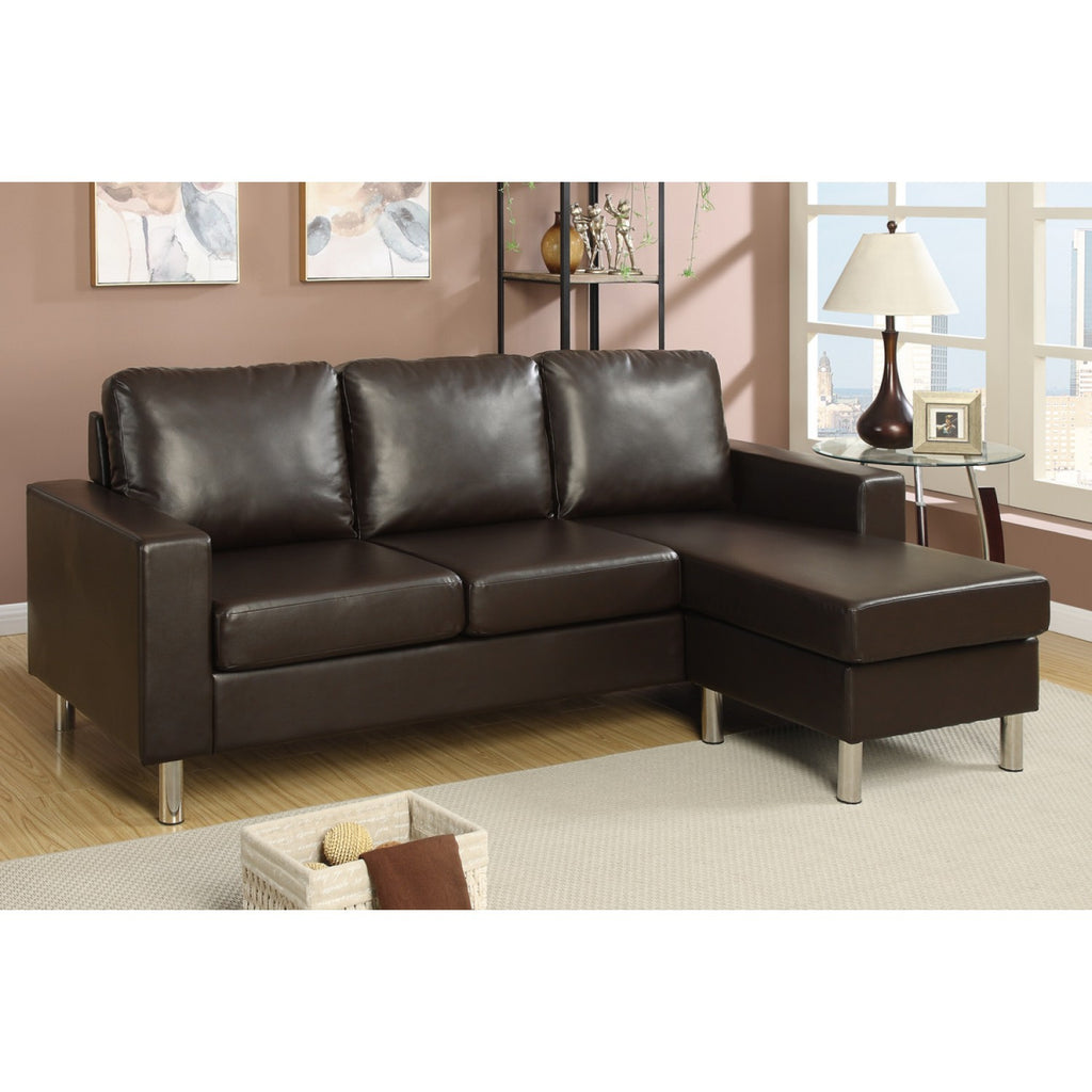 ESPRESSO FAUX LEATHER SECTIONAL SOFA OTTOMAN PD7489