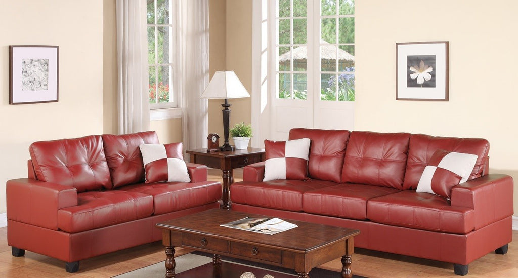 2PCS BONDED LEATHER SOFA & LOVESEAT