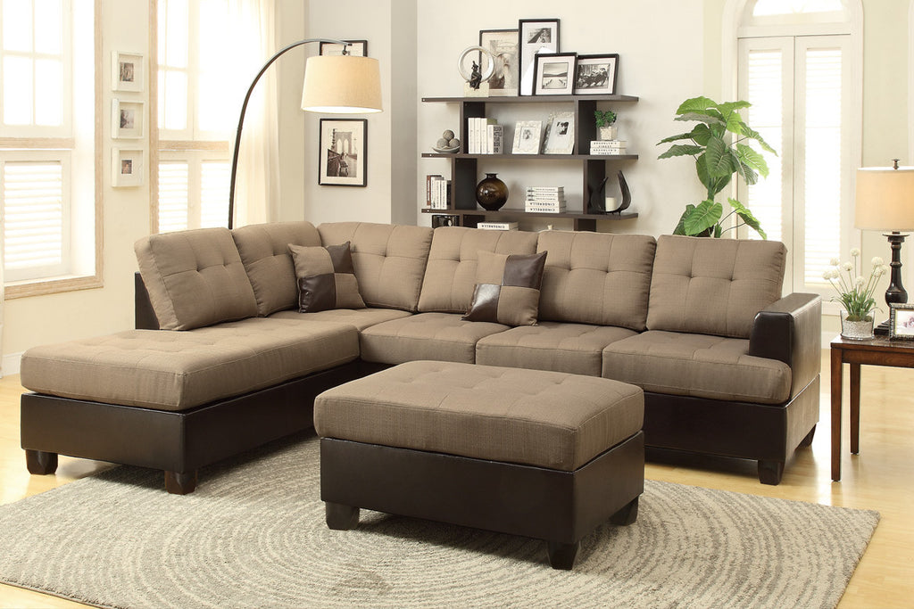 3PCS TAN REVERSIBLE CHAISE SECTIONAL SOFA WITH OTTOMAN PD7603