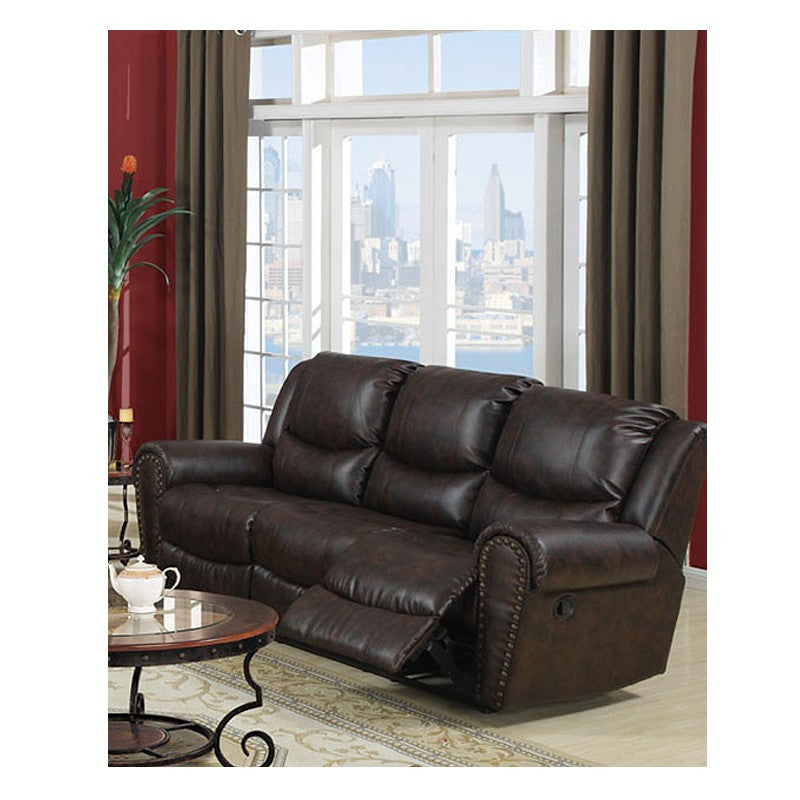 DARK CHOCOLATE BONDED LEATHER MOTION SOFA PD7738