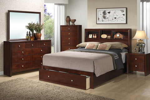 AC24590Q ILANA 4PCS BROWN CHERRY WOOD QUEEN STORAGE BEDROOM SET