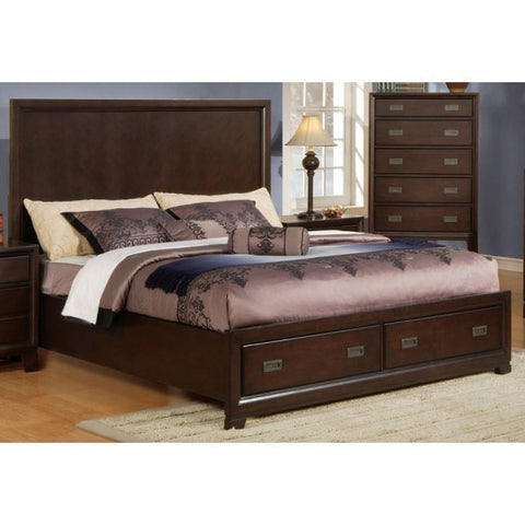 AC20650Q FAYE BEIGE LINEN AND ESPRESSO QUEEN BED