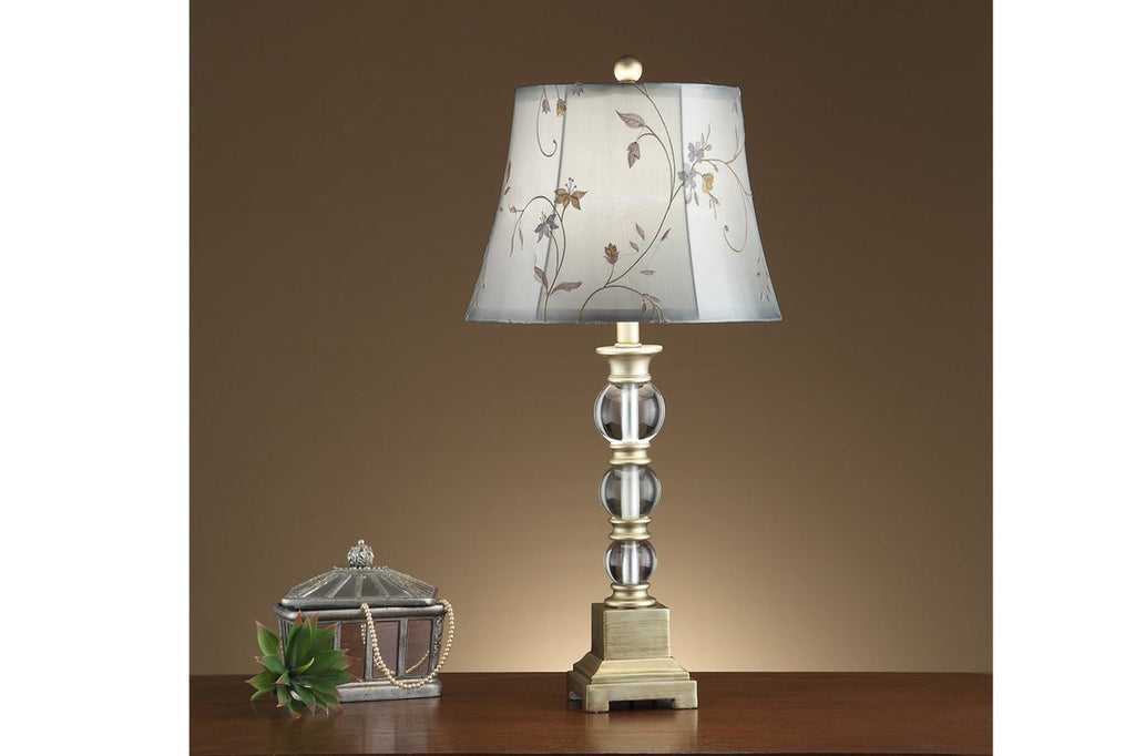 F5359 GREY GLASS TABLE LAMP SET OF 2