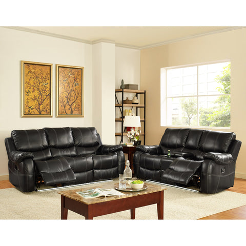2PCS BONDED LEATHER SOFA & LOVESEAT PD6915