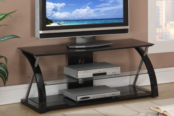 low priced e4c29 3125e POUNDEX F4521 F4522 BLACK GLASS TV STAND ENTERTAINMENT UNIT