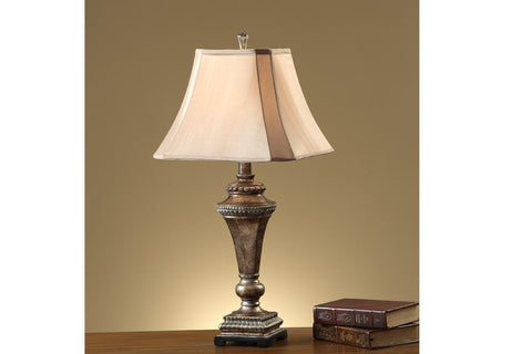 F5361 YELLOW WOOD TABLE LAMP SET OF 2