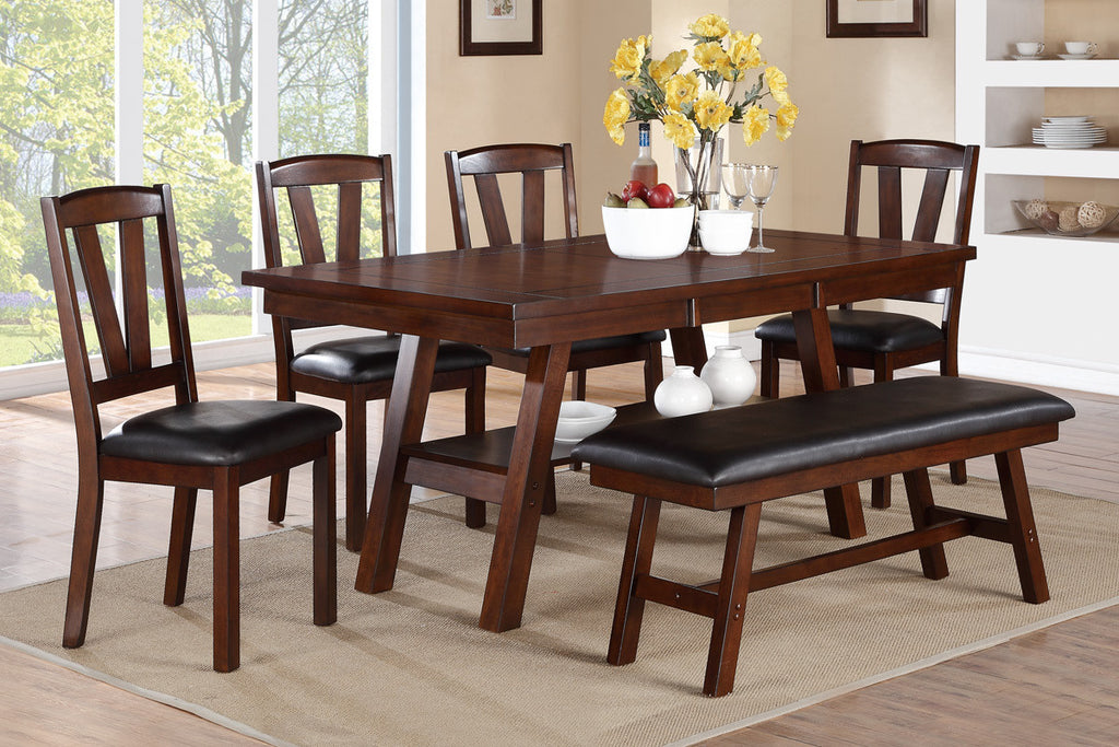 DARK WALNUT WOOD RECTANGULAR DINING SET 6PCS F2271