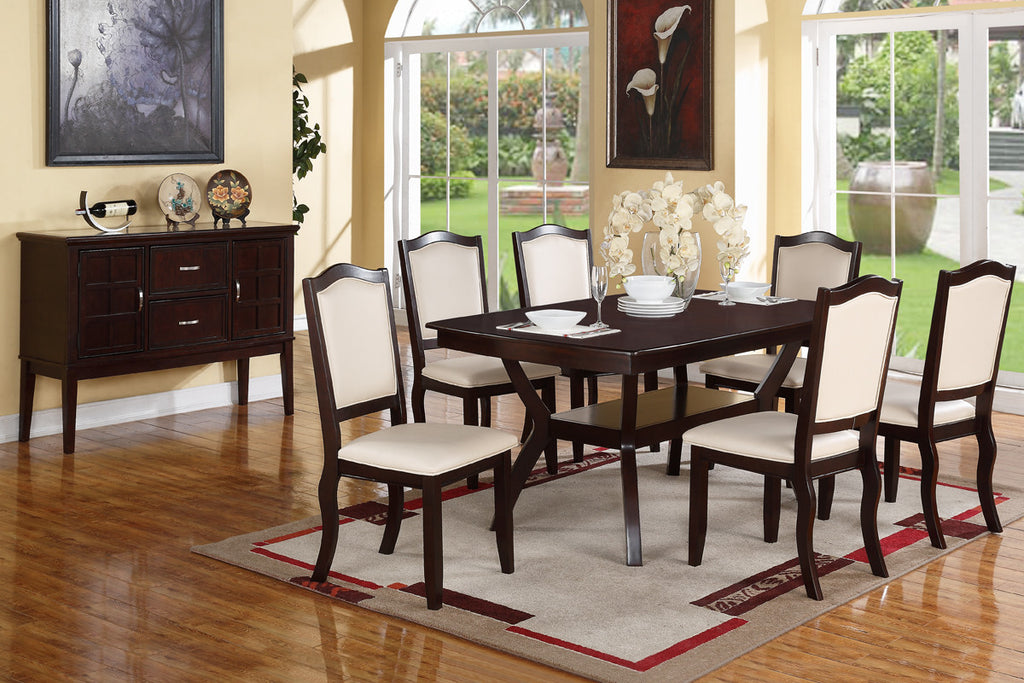 ESPRESSO 7PCS DINING TABLE SET F2290