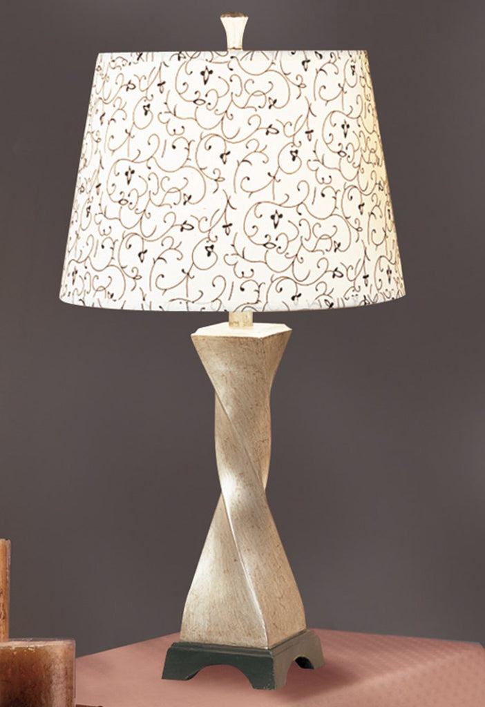 F5282 BEIGE GLASS TABLE LAMP SET OF 2