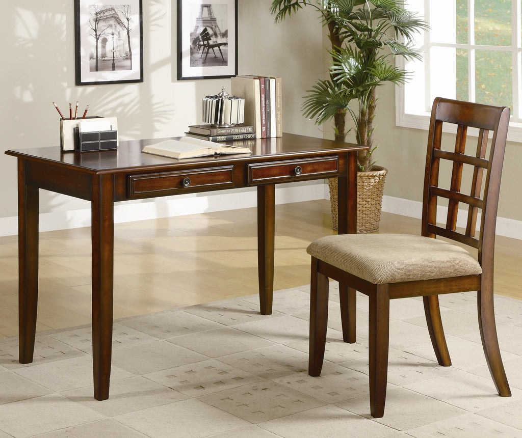 ct800778 table desk with two drawers and desk chair vans furniture rh sleepcollectionfurniture com tolliver writing desk and chair set howard writing desk and chair set