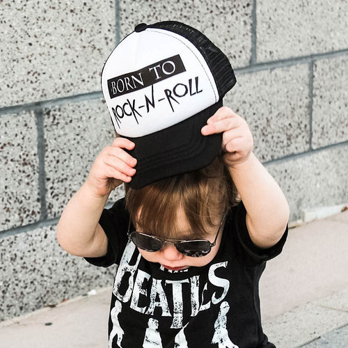 Black Rock and Roll Infant Trucker Hat