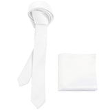 "New Polyester Men's 1.5"" skinny Neck Tie & hankie set solid formal wedding"
