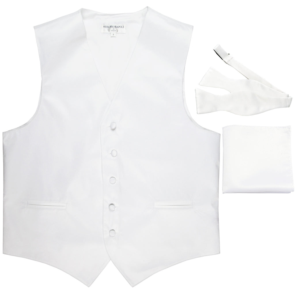 New Men's vest Tuxedo Waistcoat self tie bow tie and hankie set white