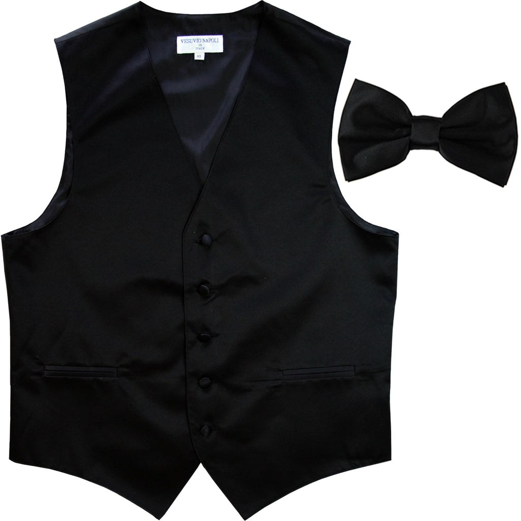 New Men's Formal Vest Tuxedo Waistcoat with Bowtie wedding prom party black