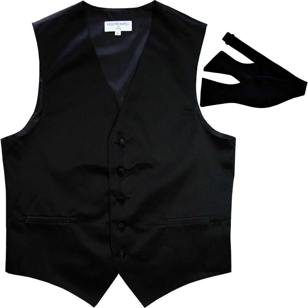 New Men's Formal Vest Tuxedo Waistcoat with free style selftie Bowtie black