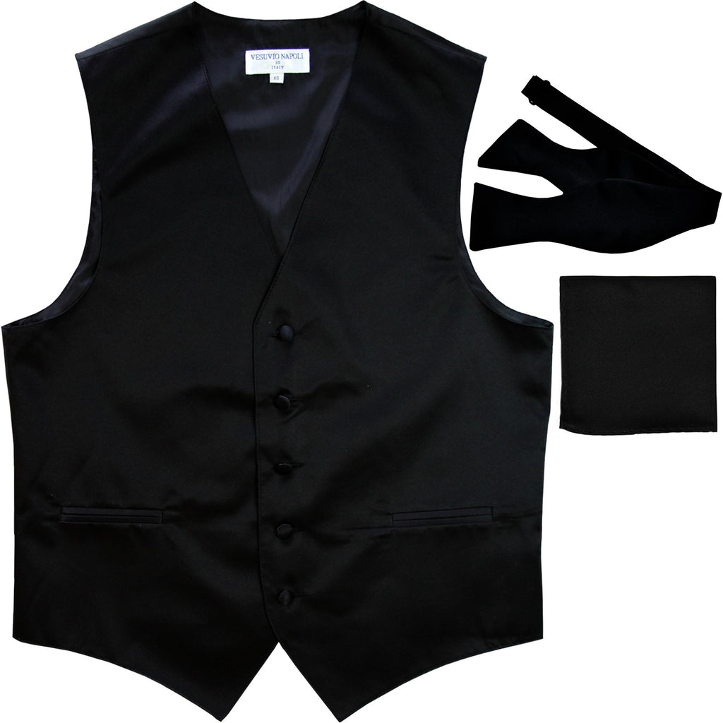New Men's vest Tuxedo Waistcoat self tie bow tie and hankie set black