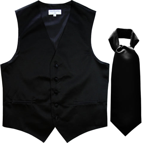New Men's Formal Tuxedo Vest Waistcoat solid & Ascot cravat Prom black