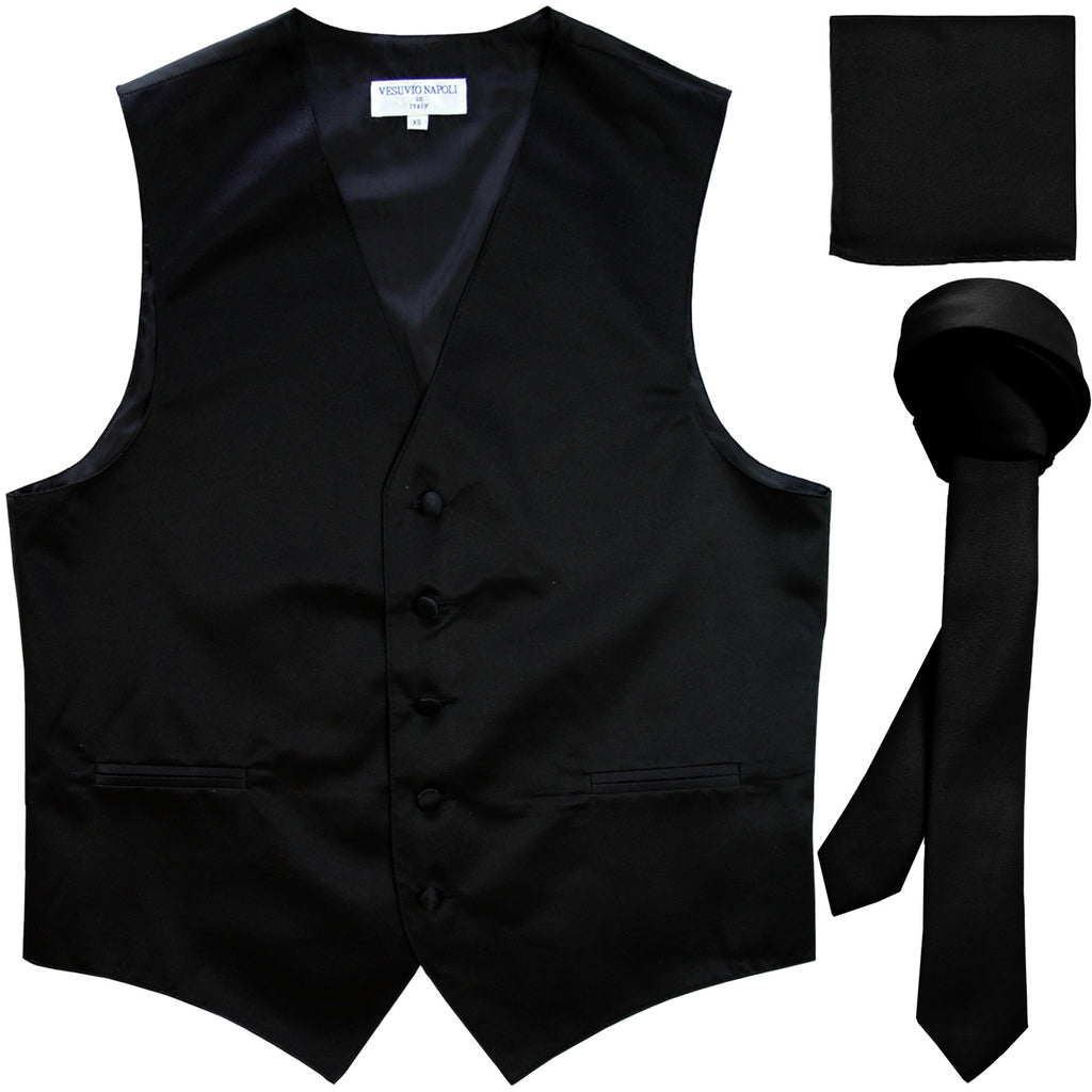 "New Men's formal vest Tuxedo Waistcoat_1.5"" necktie & hankie set wedding black"