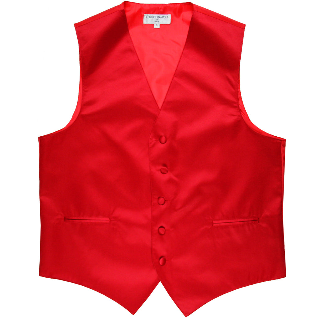 New polyester men's tuxedo vest waistcoat only solid wedding formal red