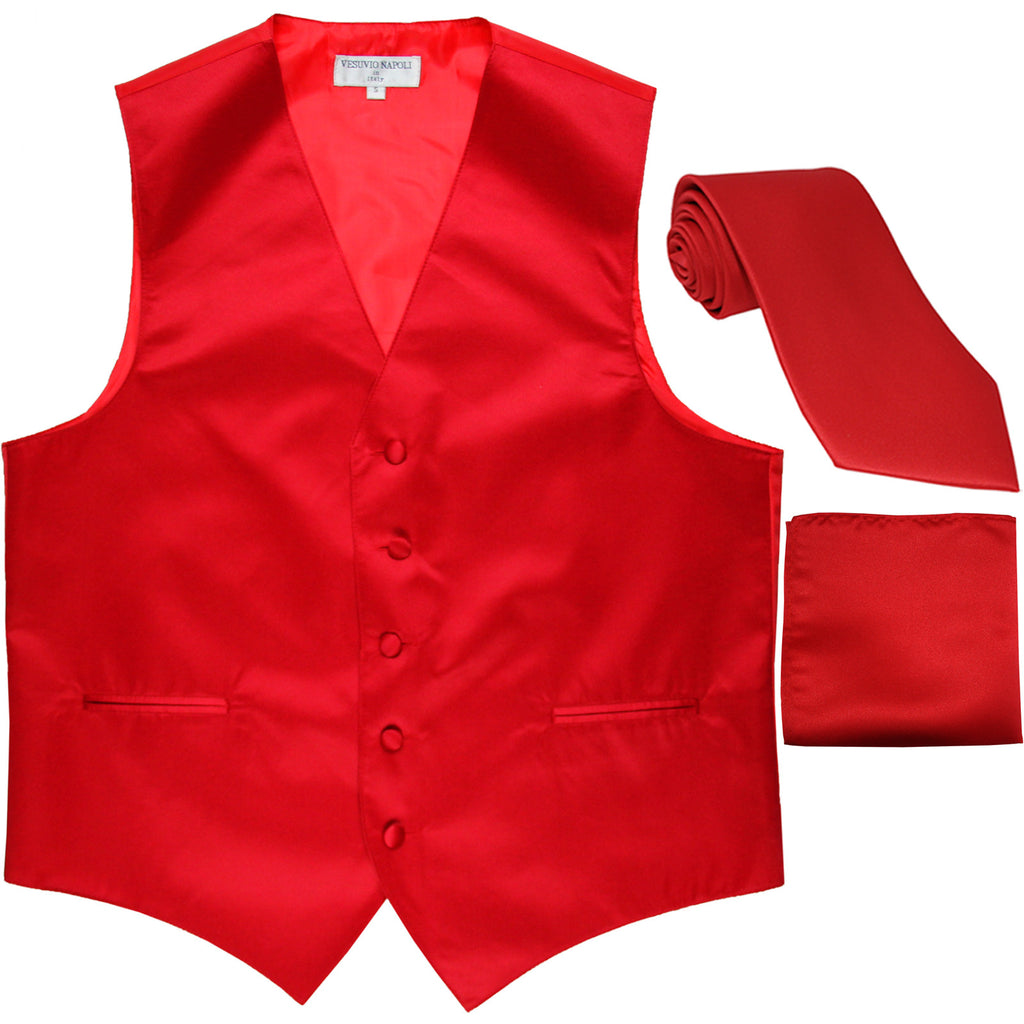 New Men's formal vest Tuxedo Waistcoat_necktie & hankie set wedding red